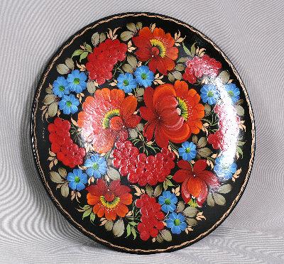 Тарілка розписна чорна квіти